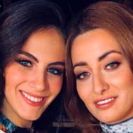 Miss Israel Adar Gandelsman (L) and Miss Iraq Sarah Idan