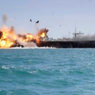 Iran blows up mock U.S. aircraft carrrier