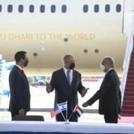 PM Benjamin Netanyahu (C), US Secretary of Treasury Steven Mnuchin (L) and UAE Minister of State for Financial Affairs Obaid Humaid Al Tayer.