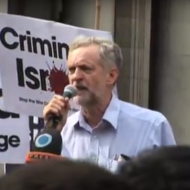 Jeremy Corbyn at an anti-Israel rally. (YouTube)